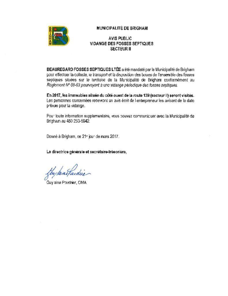 thumbnail of Avis public – Vidanges des fosses septiques 2017 secteur II