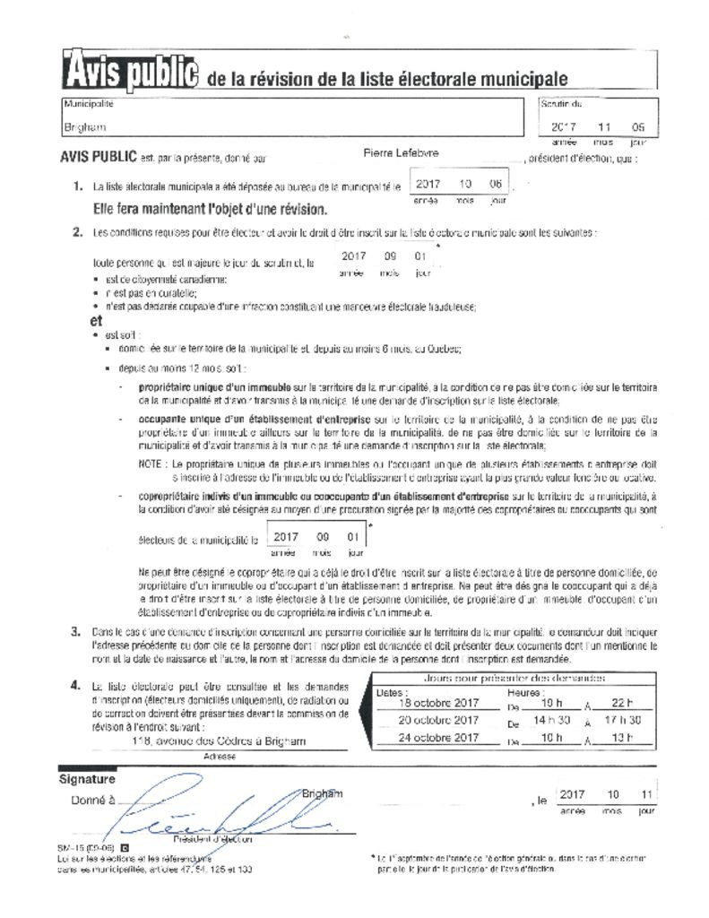 thumbnail of Avis public de la révision de la liste électorale municipale
