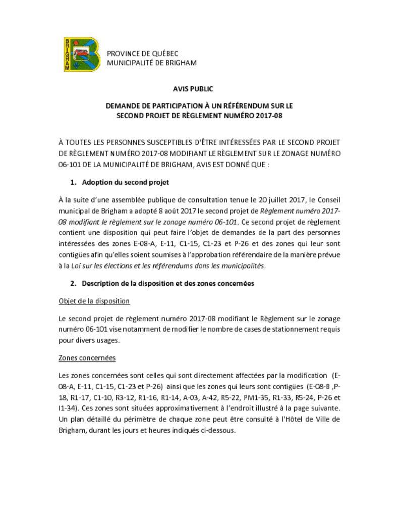thumbnail of Avis public – demande de participation à un référendum – 2017-08