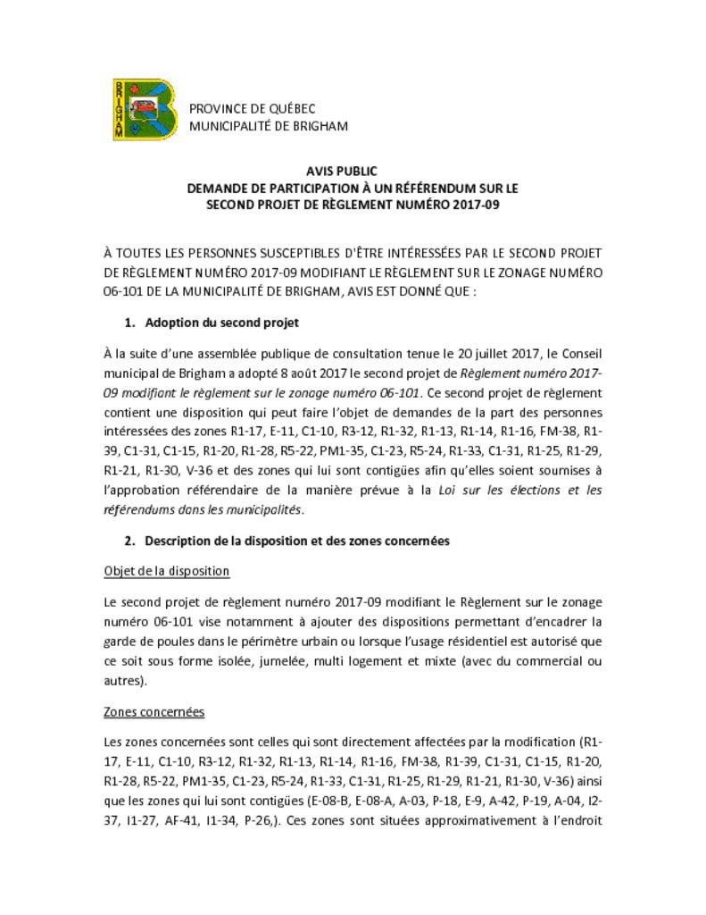 thumbnail of Avis public – demande de participation à un référendum – 2017-09