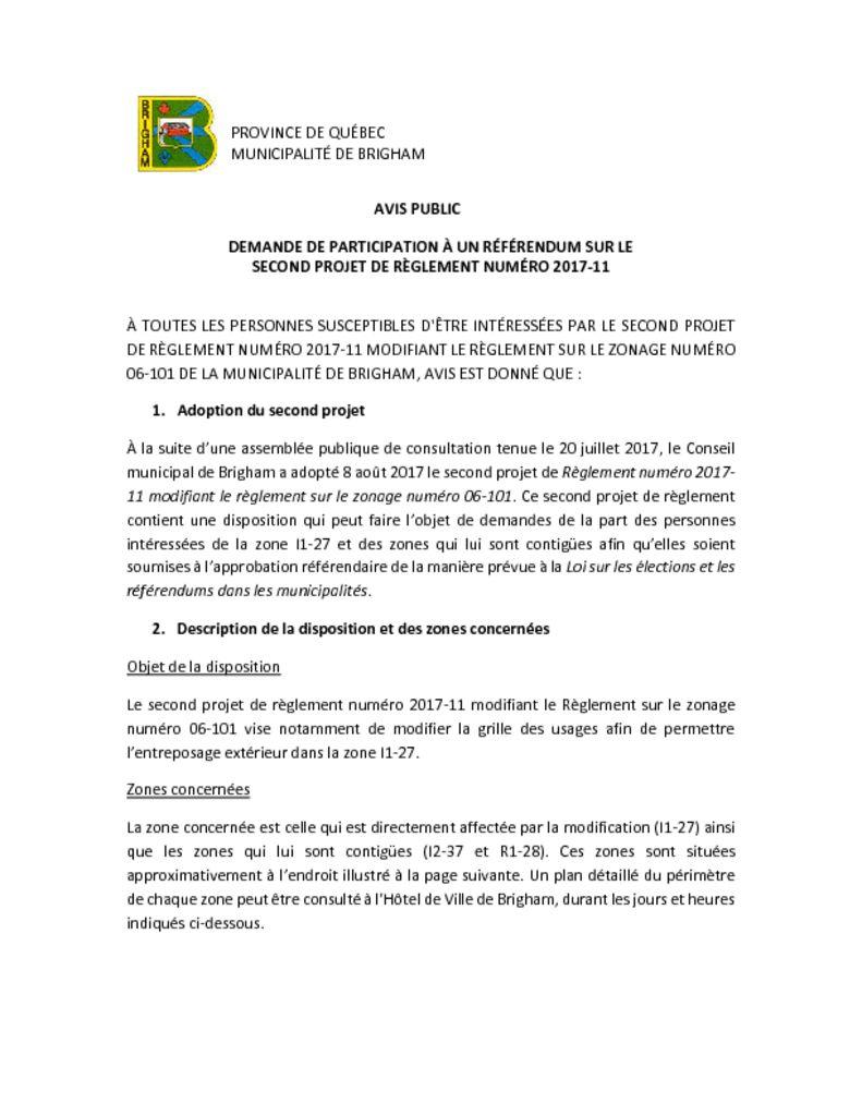 thumbnail of Avis public – demande de participation à un référendum – 2017-11