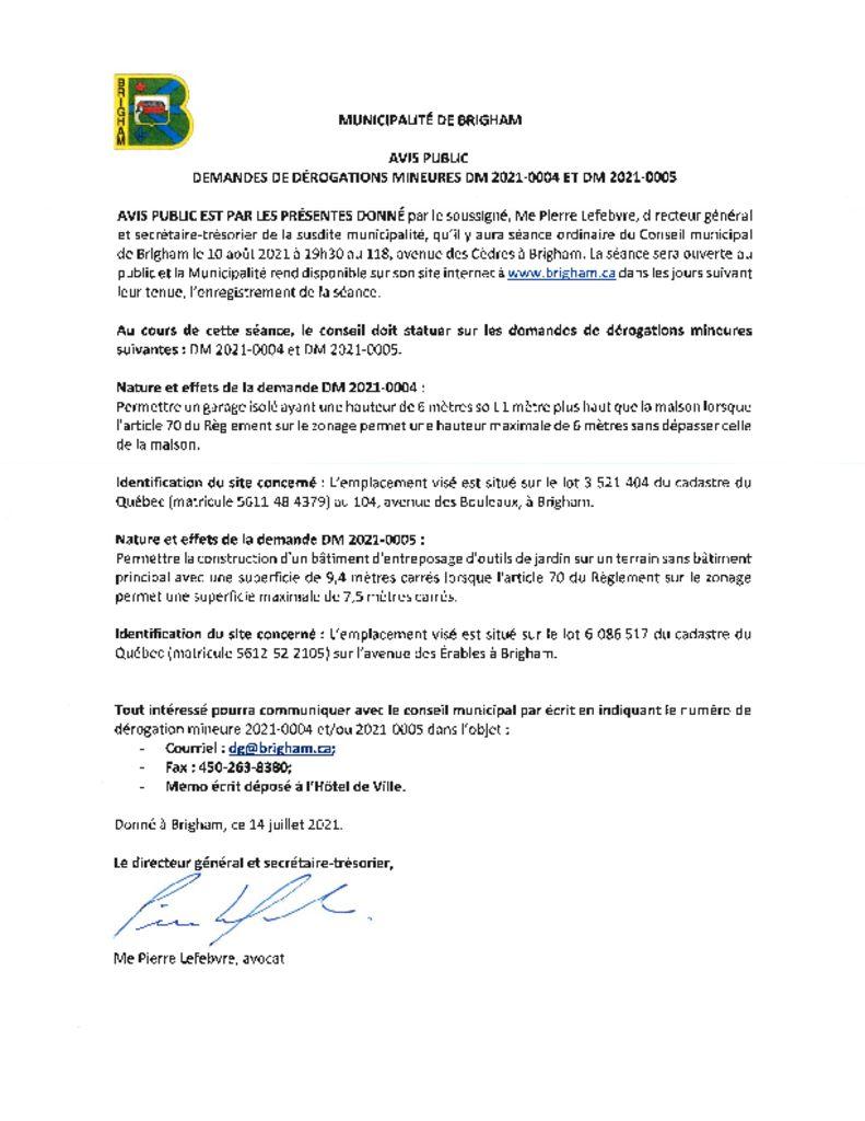 thumbnail of Avis public – demandes de derogations mineures- 2021-004 et 005