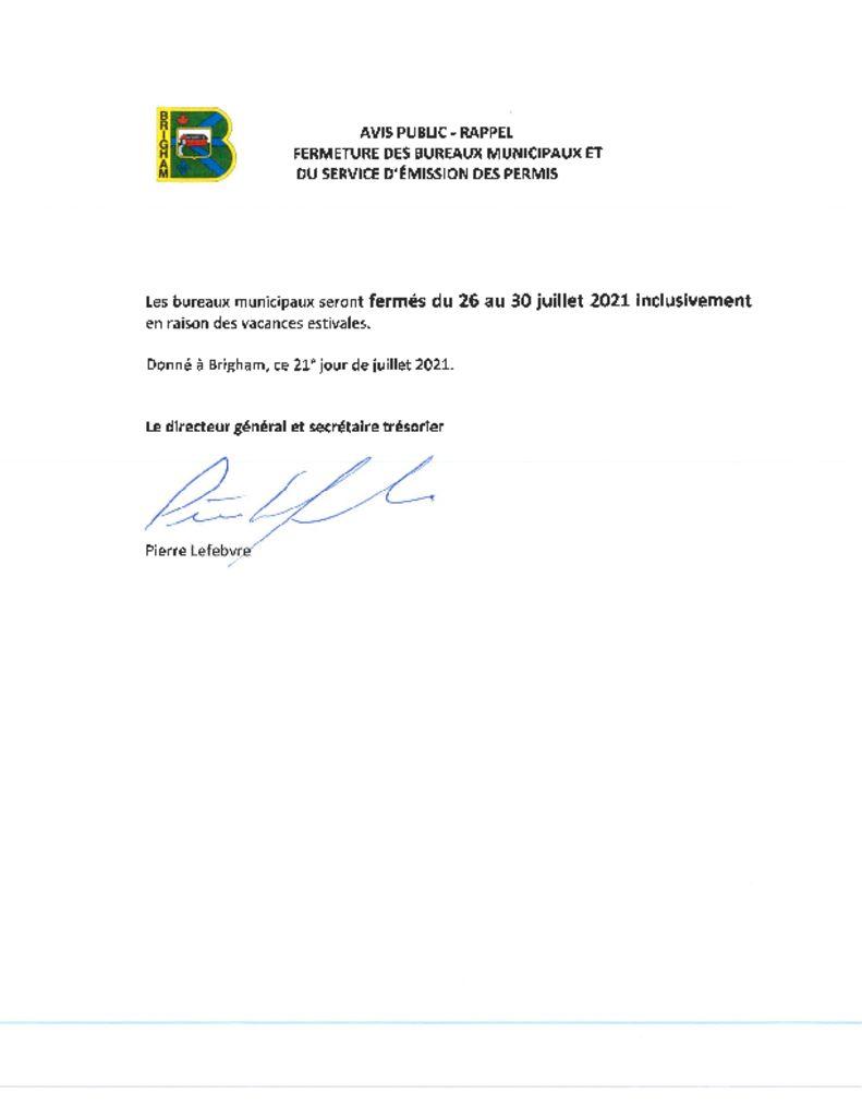 thumbnail of Avis public- rappel – fermeture bureaux municipaux (vacances estivales 2021)
