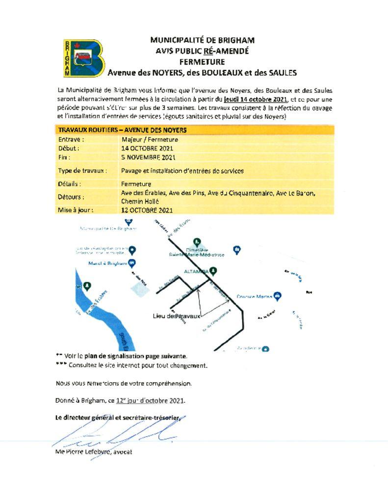 thumbnail of Avis public ré-amendé installation entrées de service 12-10-2021
