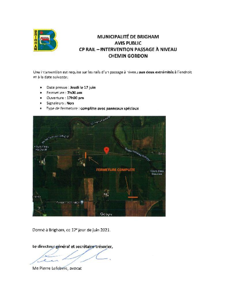 thumbnail of Avis public – travaux CP Rail – 17-06-2021