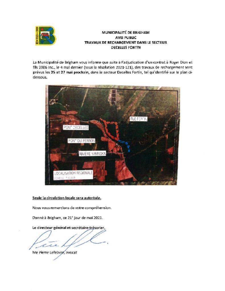 thumbnail of Avis public – travaux de rechargement Decelles- Fortin 21-05-2021