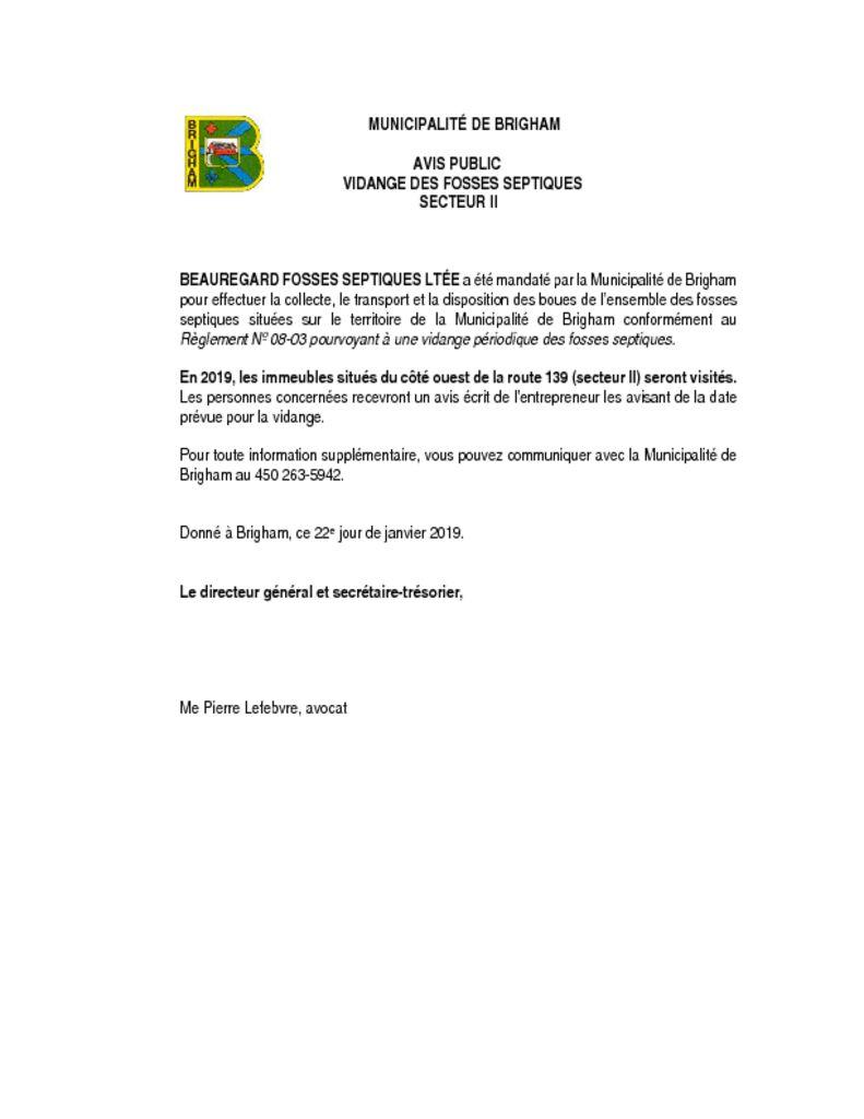 thumbnail of Avis public – vidange des fosses – Secteur II – 2019