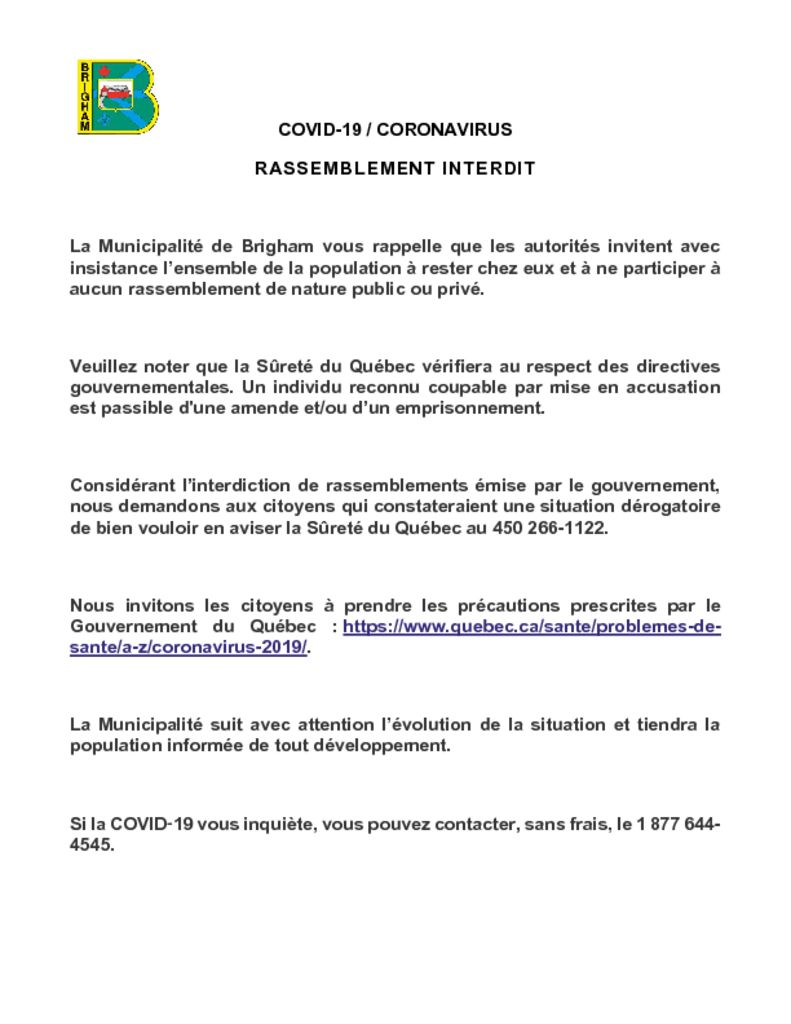thumbnail of COVID-19 CORONAVIRUS – RASSEMBLEMENT INTERDIT
