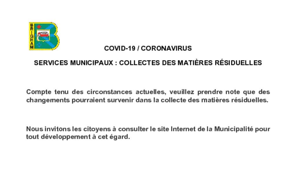 thumbnail of COVID-19 CORONAVIRUS – Services municipaux – Collecte des matieres residuelles