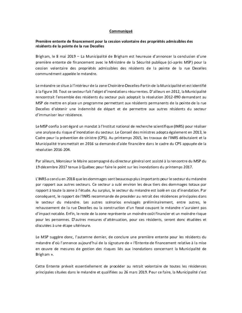 thumbnail of Communiqué – Decelles – MSP