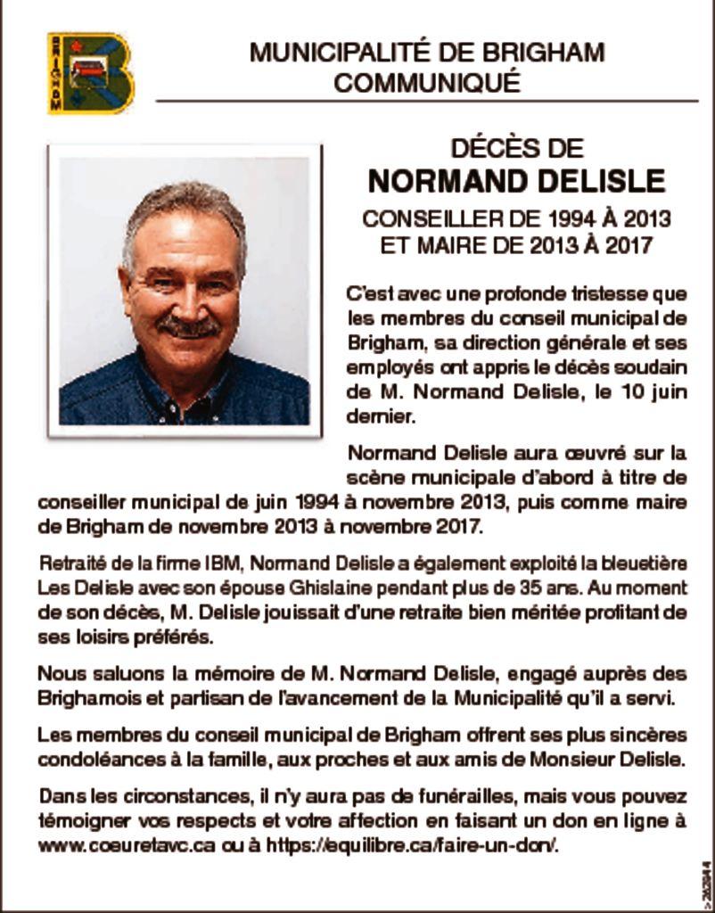 thumbnail of Communiqué – Normand Delisle