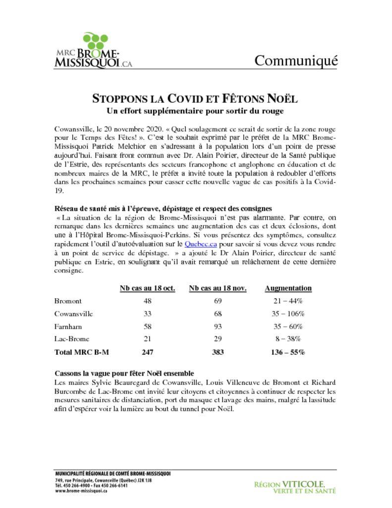 thumbnail of Communiqué Stoppons Covid B-M nov 2020