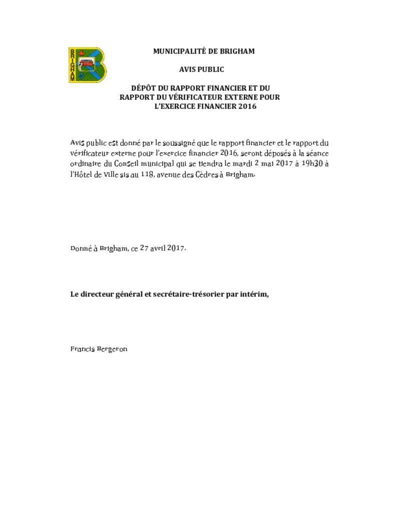 thumbnail of Dépôt du rapport financier et rapport des vérificateurs 2016