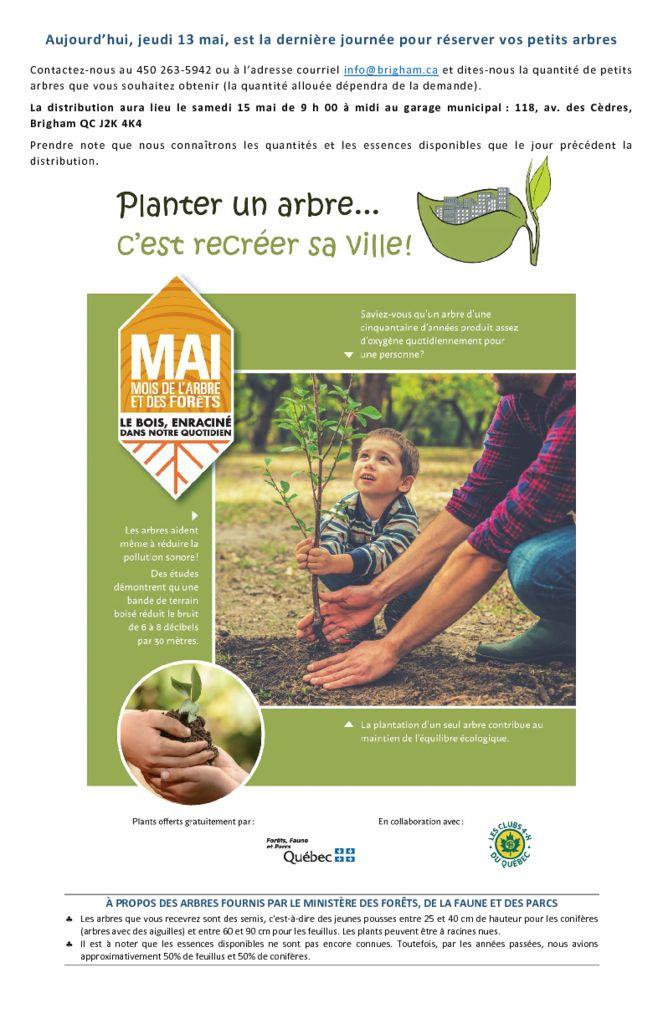 thumbnail of Derniere jour pour réserver vos petis arbres – 2021