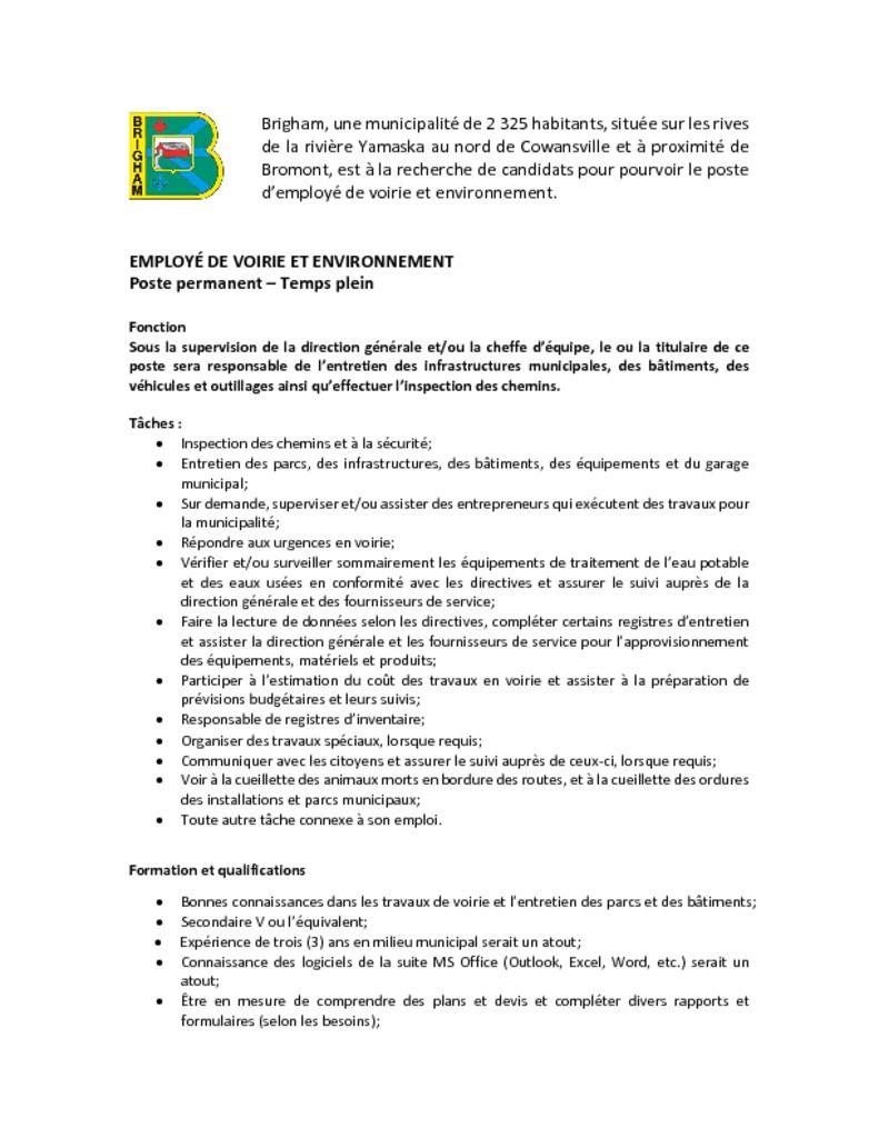 thumbnail of Employe de voirie et environnement – affichage de poste 2021