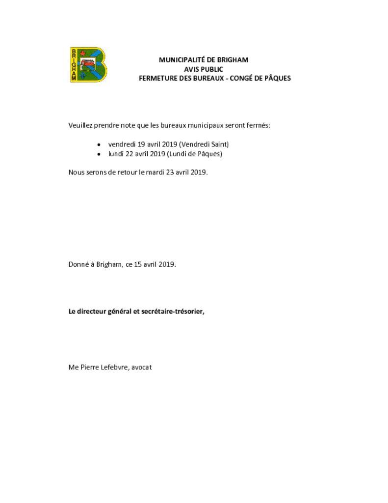 thumbnail of Fermeture bureaux – congés de pâques 2019