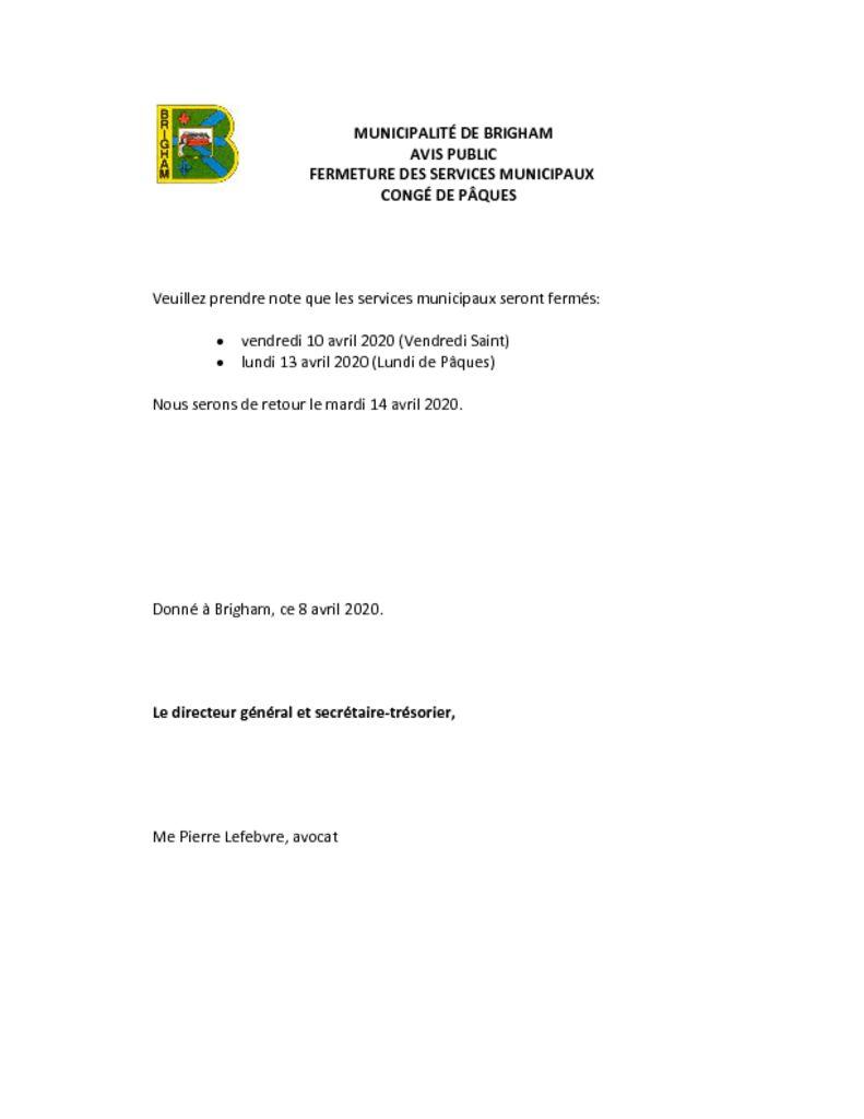 thumbnail of Fermeture bureaux – congés de pâques 2020