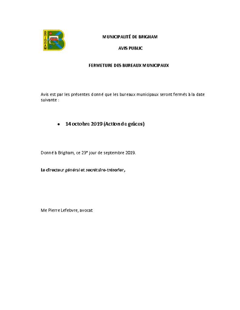 thumbnail of Fermeture des bureaux – Action de Grâce-2019