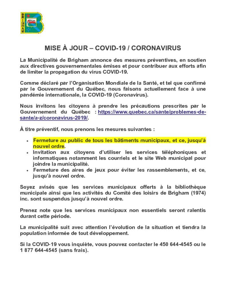 thumbnail of MISE À JOUR COVID-19 CORONAVIRUS v2
