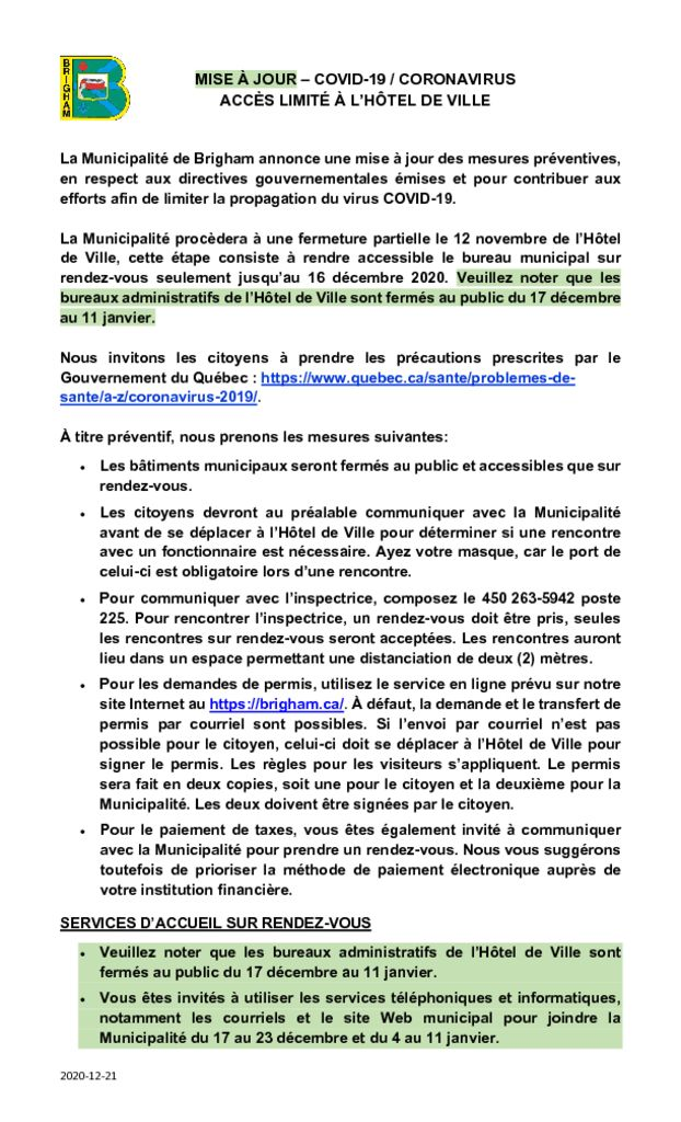 thumbnail of MISE A JOUR COVID-19 CORONAVIRUS-Acces limite_Decembre 2020.v2