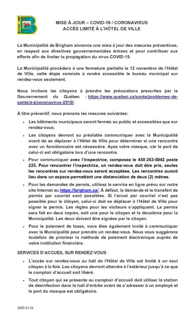 thumbnail of MISE À JOUR COVID-19 CORONAVIRUS-Acces limite_Novembre 2020