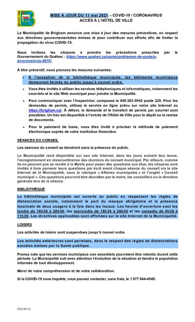 thumbnail of MISE À JOUR COVID-19 CORONAVIRUS-Acces_10 mai 2021