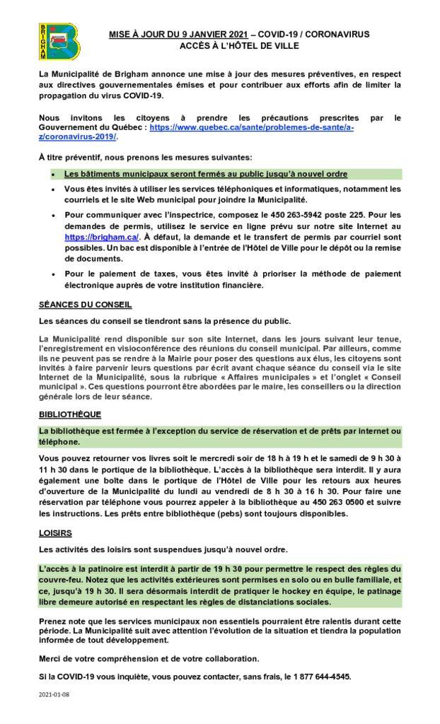 thumbnail of MISE À JOUR COVID-19 CORONAVIRUS-Acces_9 janvier 2021