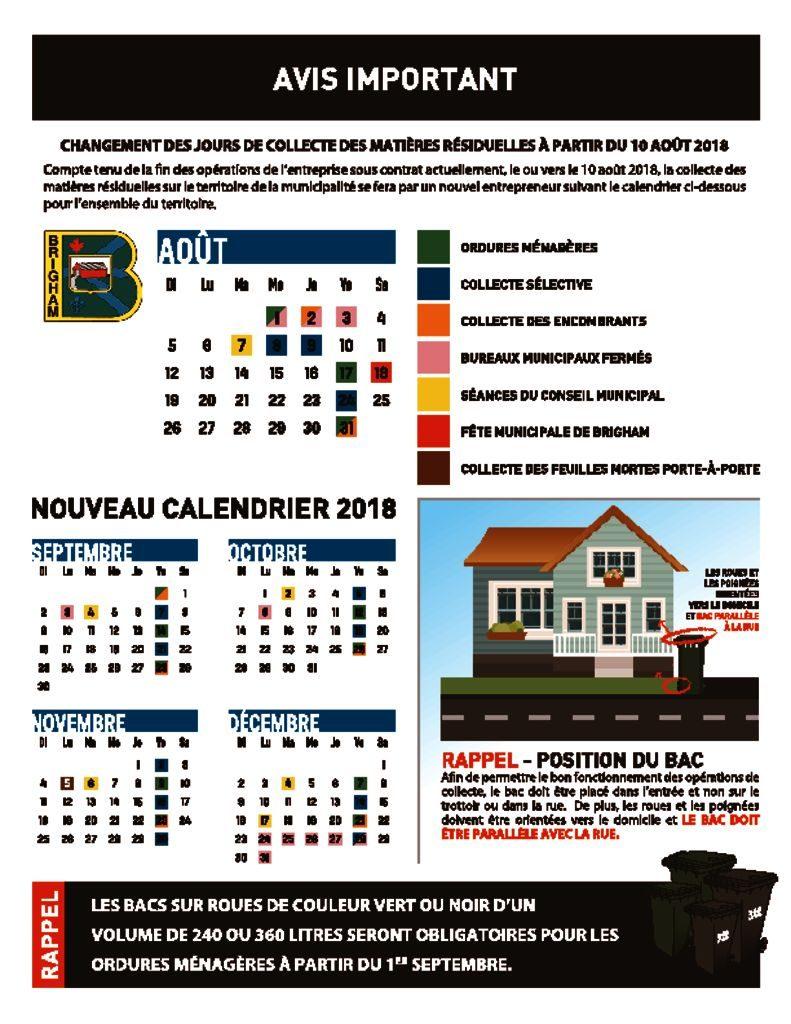 thumbnail of Nouveau calendrier des collectes – Matières résiduelles – Brigham 2018