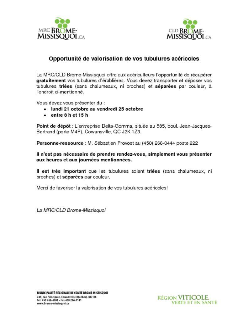 thumbnail of Opportunité érablières 2019