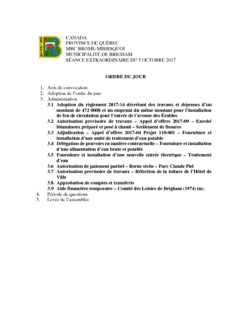 thumbnail of Ordre du jour 05-10-2017