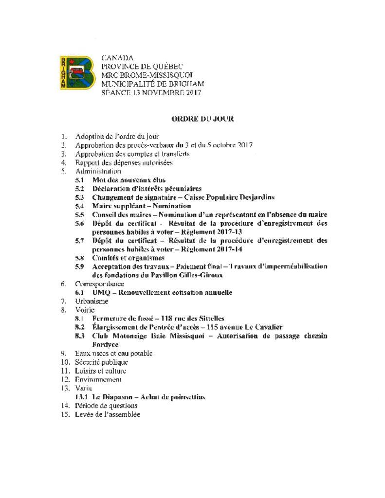 thumbnail of Ordre du jour – 13-11-2017