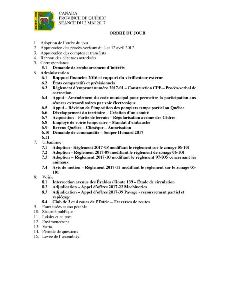 thumbnail of Ordre du jour – 2017-05-02