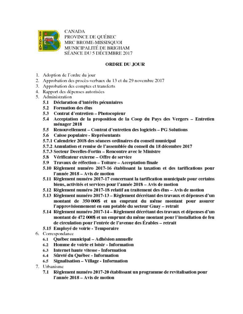 thumbnail of Ordre du jour 2017-12-05