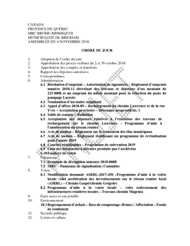 thumbnail of Ordre du jour 2018-11-06
