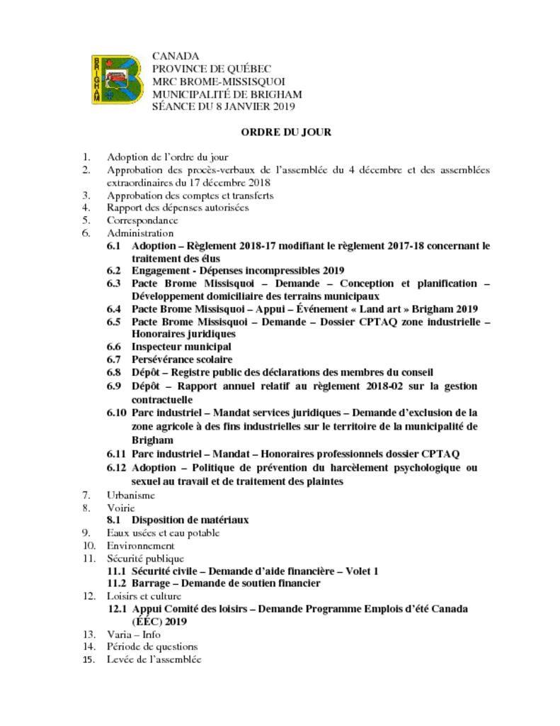 thumbnail of Ordre du jour 2019-01-08