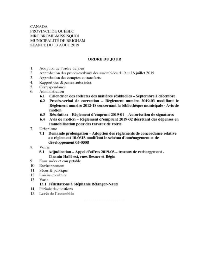 thumbnail of Ordre du jour 2019-08-13