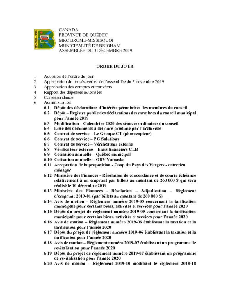 thumbnail of Ordre du jour 2019-12-03
