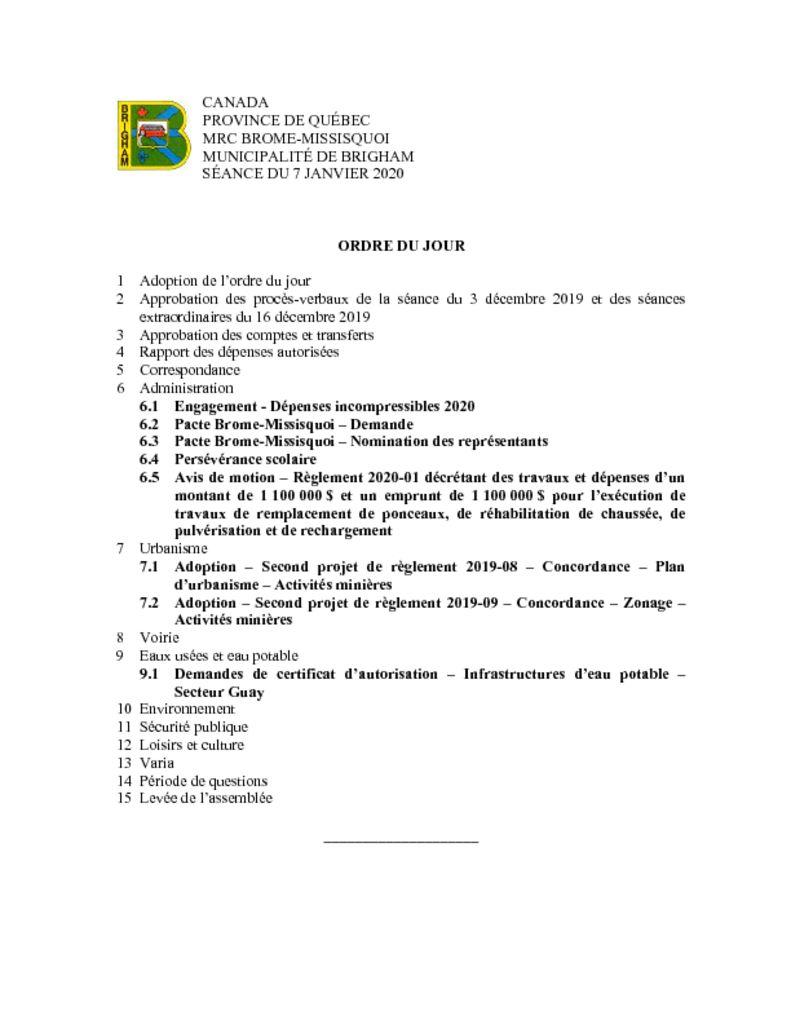 thumbnail of Ordre du jour 2020-01-07