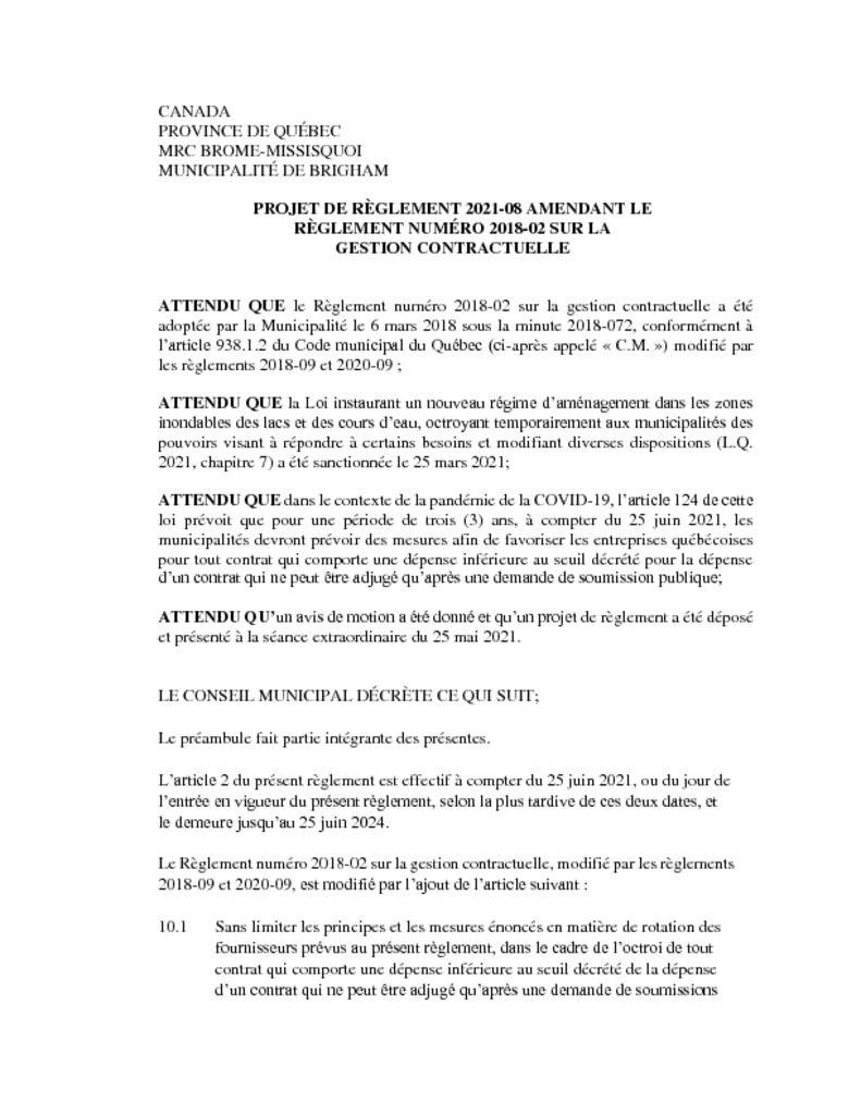 thumbnail of PROJET DE RÈGLEMENT 2021-08 AMENDANT LE RÈGLEMENT NUMÉRO 2018-02 SUR LA GESTION CONTRACTUELLE