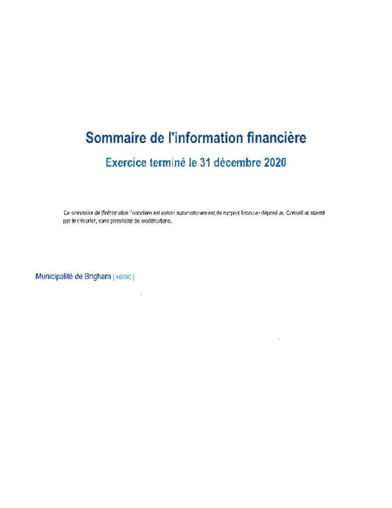thumbnail of Point 6.3 – Sommaire financier
