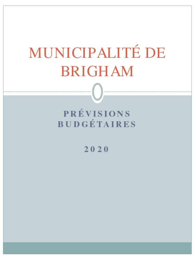 thumbnail of Prévisions budgétaires 2020