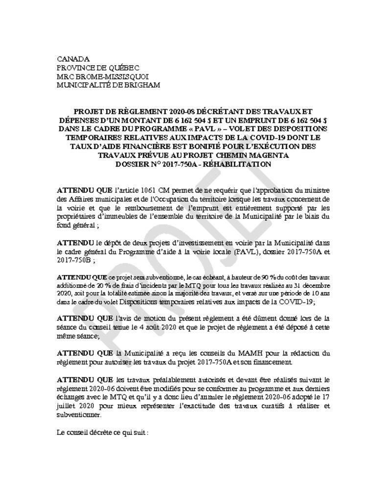 thumbnail of Projet de Regl. 2020-08 decretant trav. et depenses de 6 162 504 $ PAVL volet COVID_Magenta 2017-750A_REHABILITATION et ANNEXES