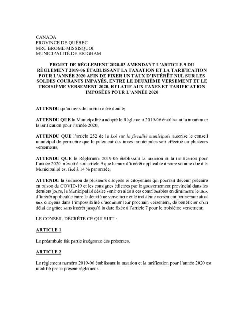 thumbnail of Projet de règl. 2020-03 amendant art. 9 du règl. 2019