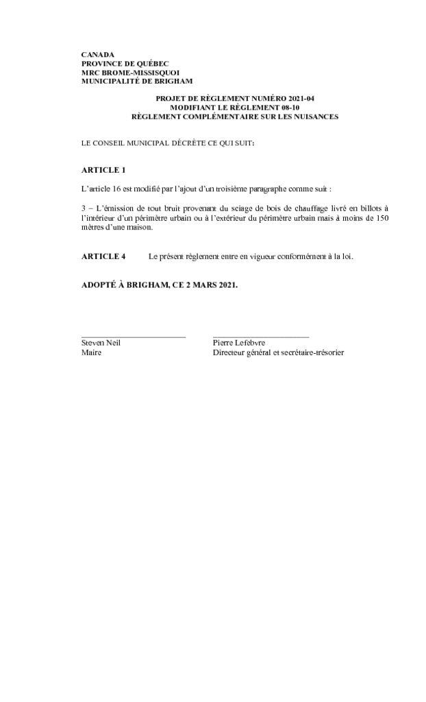 thumbnail of Projet de reglement 2021-04 modifiant le reglement 08-10 sur les nuisances