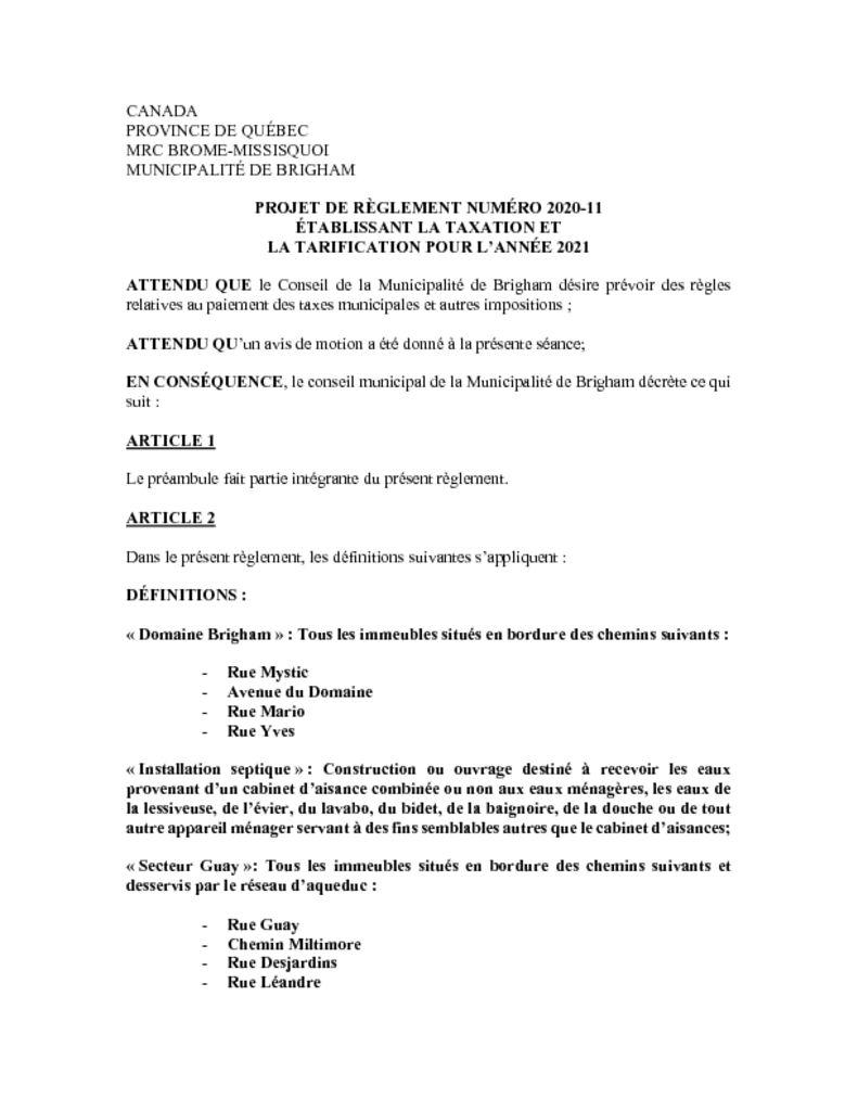 thumbnail of Projet-reglement_2020-11_taxation-tarification_2021