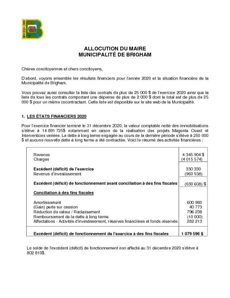 thumbnail of Rapport du maire 2020
