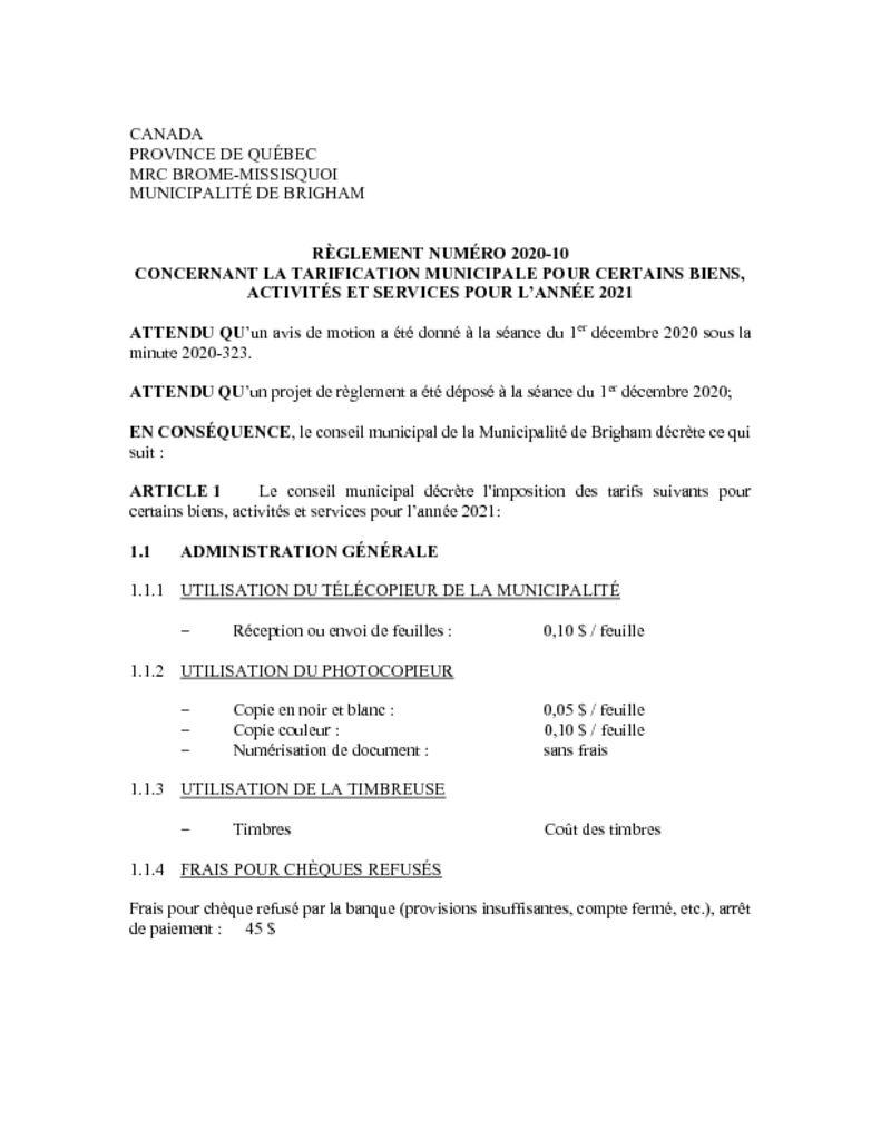 thumbnail of Règlement 2020-10 concernant la tarification municipale pour certains biens, activites et services 2021