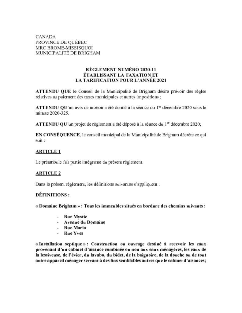 thumbnail of Règlement 2020-11 etablissant la taxation et tarification pour 2021