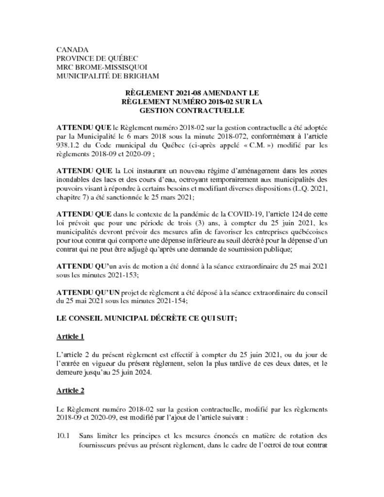 thumbnail of Règlement 2021-08 amendant le règlement numéro 2018-02 sur la gestion contractuelle