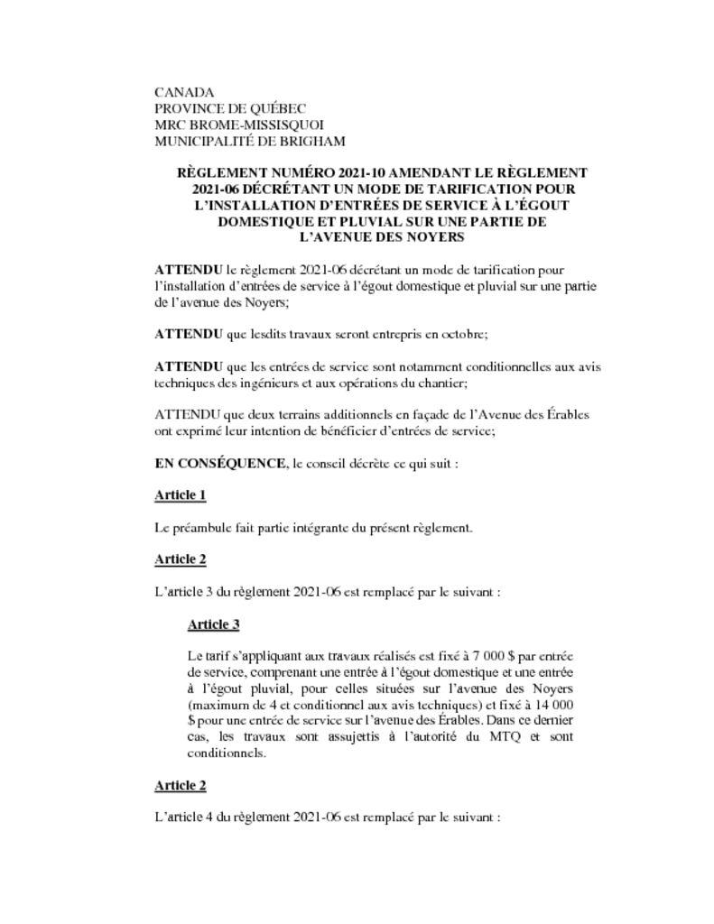 thumbnail of Règlement 2021-10
